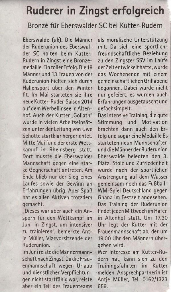 Zeitungsartikel vom 06.08.2014